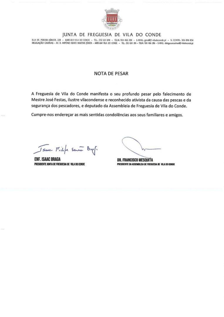 Nota de Pesar - Mestre José Festas