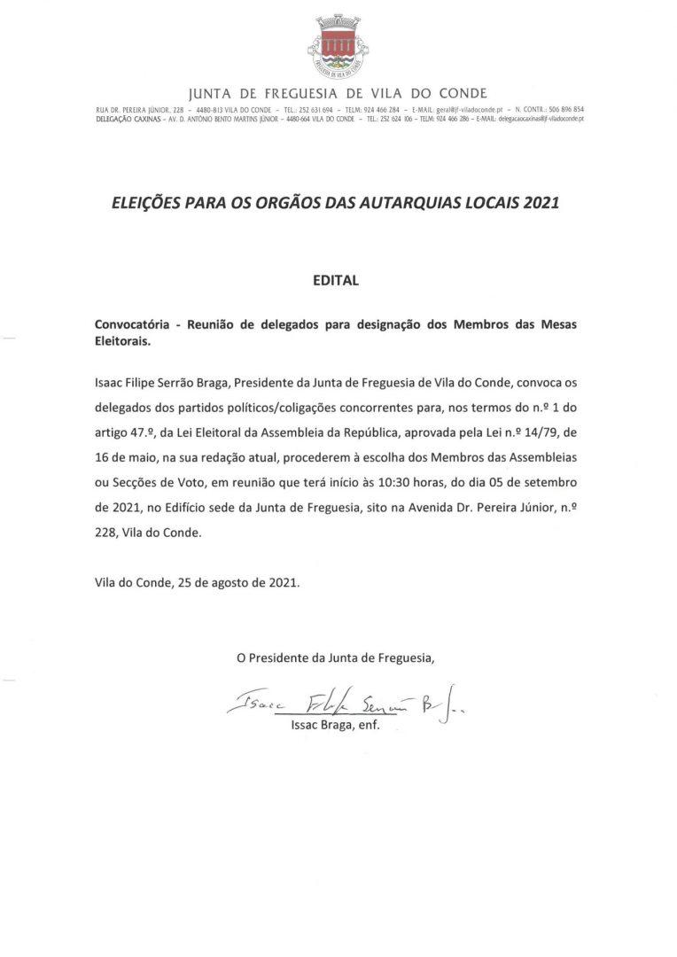 ELEIÇÕES AUTÁRQUICAS 2021   Edital: Convocatória de Delegados para Designação dos Membros das Mesas Eleitorais