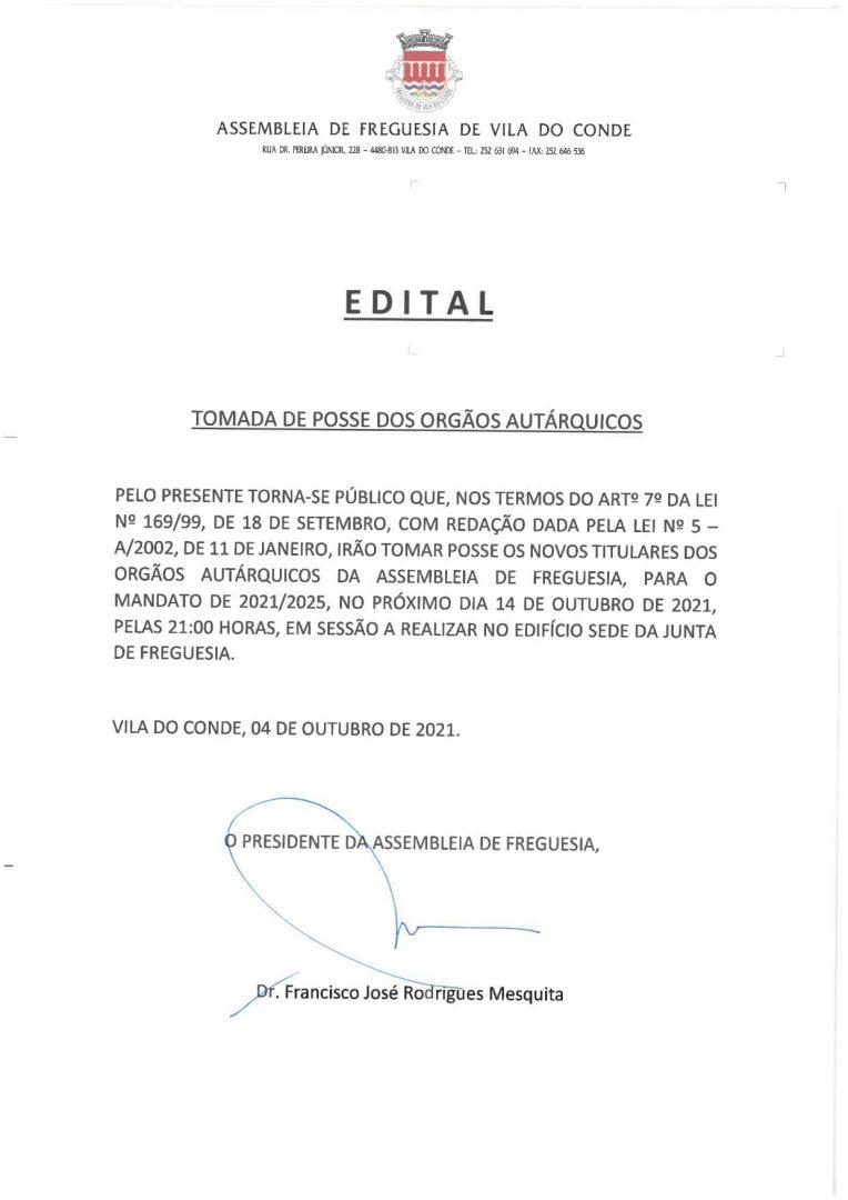 EDITAL - Ato de Instalação dos Órgãos Autárquicos da Freguesia de Vila do Conde   Quadriénio 2021-2025